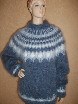 Icelandic crew neck mohair sweater jeans blue- One siz