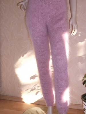 Hand knitted mohair pants pink size- M