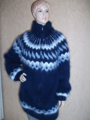Mohair Icelandic longhair  cardigan with zipper navy blue -unise