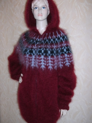 Icelandic longhair mohair sweater with zipper and hood burgundy