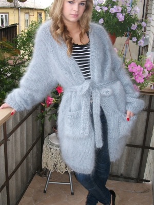 LONGHAIR THICK MOHAIR JACKET WITH BELT AND POCKETS LIGHT GRAY -X