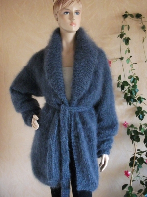LONGHAIR THICK MOHAIR JACKET WITH SHAWL AND BELT DARK GRAY -XL