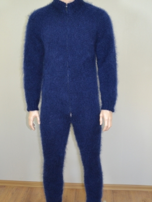Mohair mens bodysuit with double opening zipper and feet- navy b