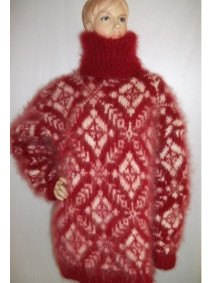 Fair Isle hand knitted mohair turtleneck sweater bright red