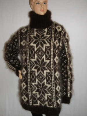 Fair Isle hand knitted mohair turtleneck sweater dark brown