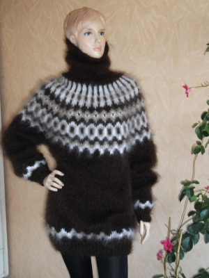 Icelandic turtleneck mohair sweater-chocolate-XL