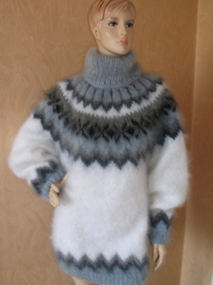 Icelandic turtleneck mohair sweater white-unisex -L-XL