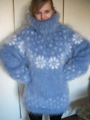 Icelandic turtleneck Mohair sweater sky blue- XL