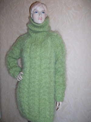 Thick Chunky cable knitted Mohair Merino and Alpaca turtleneck s