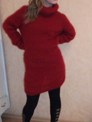 Brand new Icelandic turtleneck mohair dress cherry