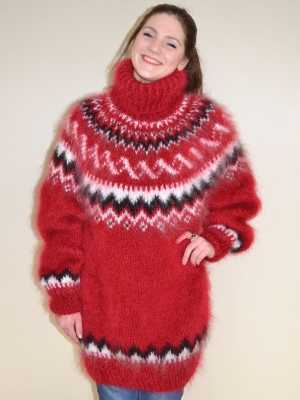 Icelandic  mohair sweater cherry- XL