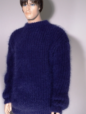 Thick swedish style sweatermohair and wool -navy blue