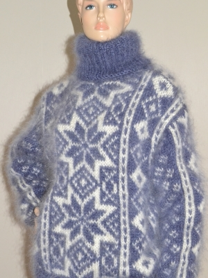 Jeans blue Fair Isle mohair turtleneck sweater - X L