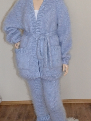 Thick mohair suit-cardigan,pants, ankle warmers-light blue