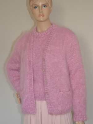 Light pink sweater and cardigan