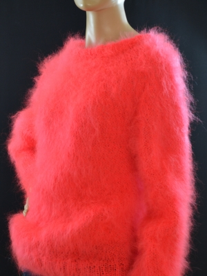 Brand new hand knitted thin mohair crewneck sweater neon coral -