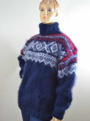Norwegian Katia Ingenua mohair turtleneck  sweater navy blue