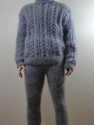 Mohair handknit mens thick bodysuit - Aran sweater -pants front