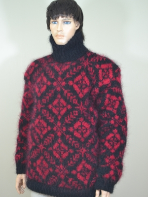 Fair Isle hand knitted mohair turtleneck sweater black - cherry
