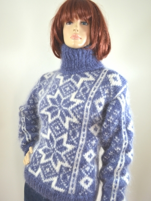 Jeans blue Fair Isle mohair hand knitted sweater size- S