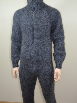 Mohair , wool mens bodysuit with double opening zipper, bacalava