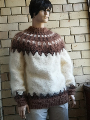 Cream Icelandic  crewneck mohair sweater  - One size