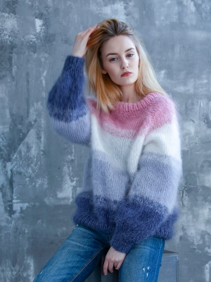 Hand knitted mohair sweater four colors size M-L