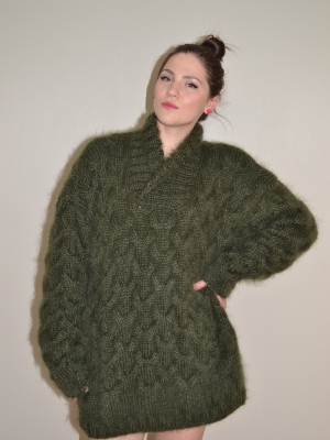 Thick fishermen's mohair sweater-mossy green-XL