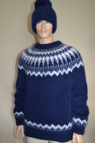 Thick Icelandic mohair sweater and two hats
