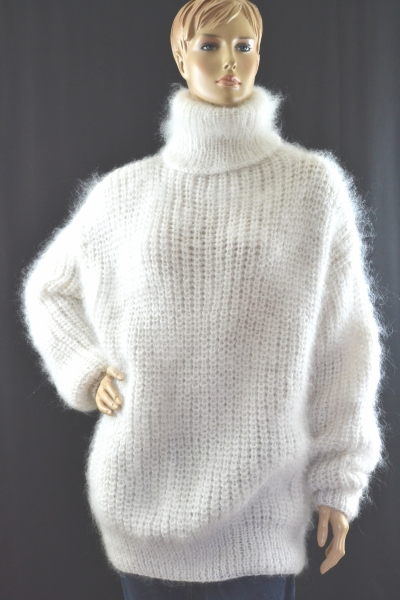 Thick Mohair Cashmere Turtleneck Sweater White Xl Www