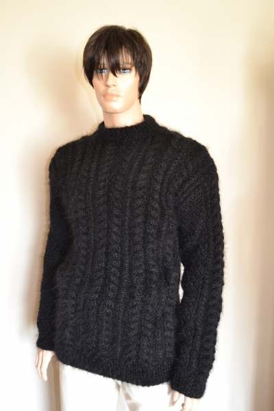 Aran hand knitted mohair crewneck sweater black -XL