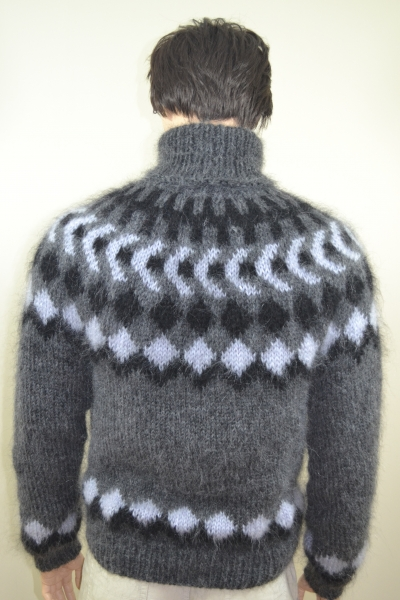 c0c8b9186d1 Mohair dark grey hand knitted Icelandic sweater - www.mohairmagic.com