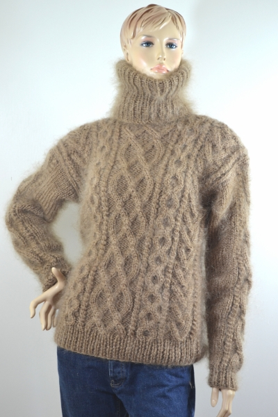 Thick Mohair Cable Knitted Sweater Brown Mohairmagic