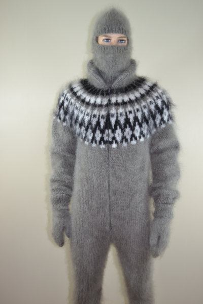 Mens Sweater Bodysuit Double Opening Zipper Socks Gloves