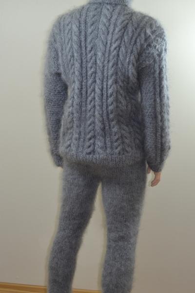 Mohair Handknit Mens Thick Bodysuit Aran Sweater Pants