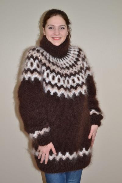 Icelandic Mohair Turtleneck Sweater Chocolate One Size