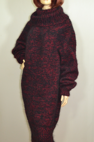 Thick angora and mohair dress cherry black