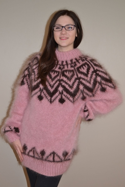 Icelandic mohair crewneck sweater dusty pink