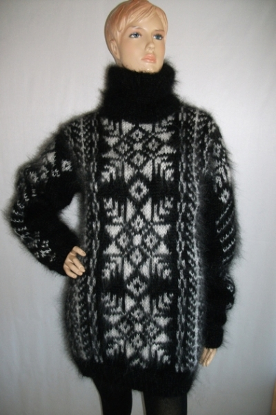 Fair Isle hand knitted mohair turtleneck sweater black and white
