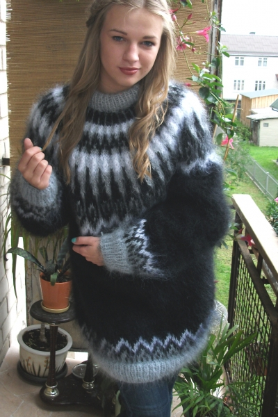 Arctic Ocean Mohair Crewneck Sweater Black One Size Www