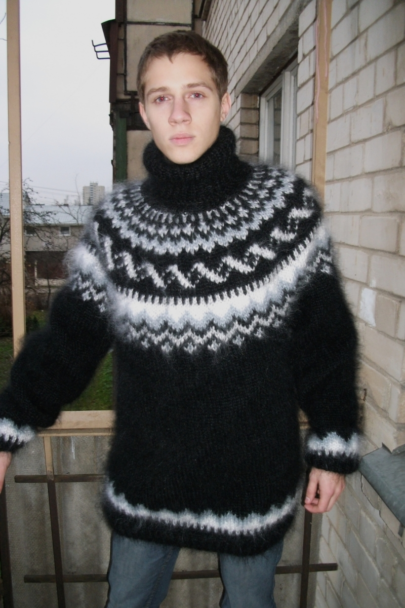 Icelandic turtleneck mohair sweater black XL www