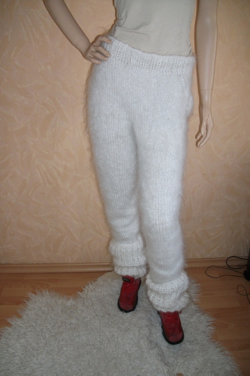 Hand knitted thick mohair pants with ankle warmers white