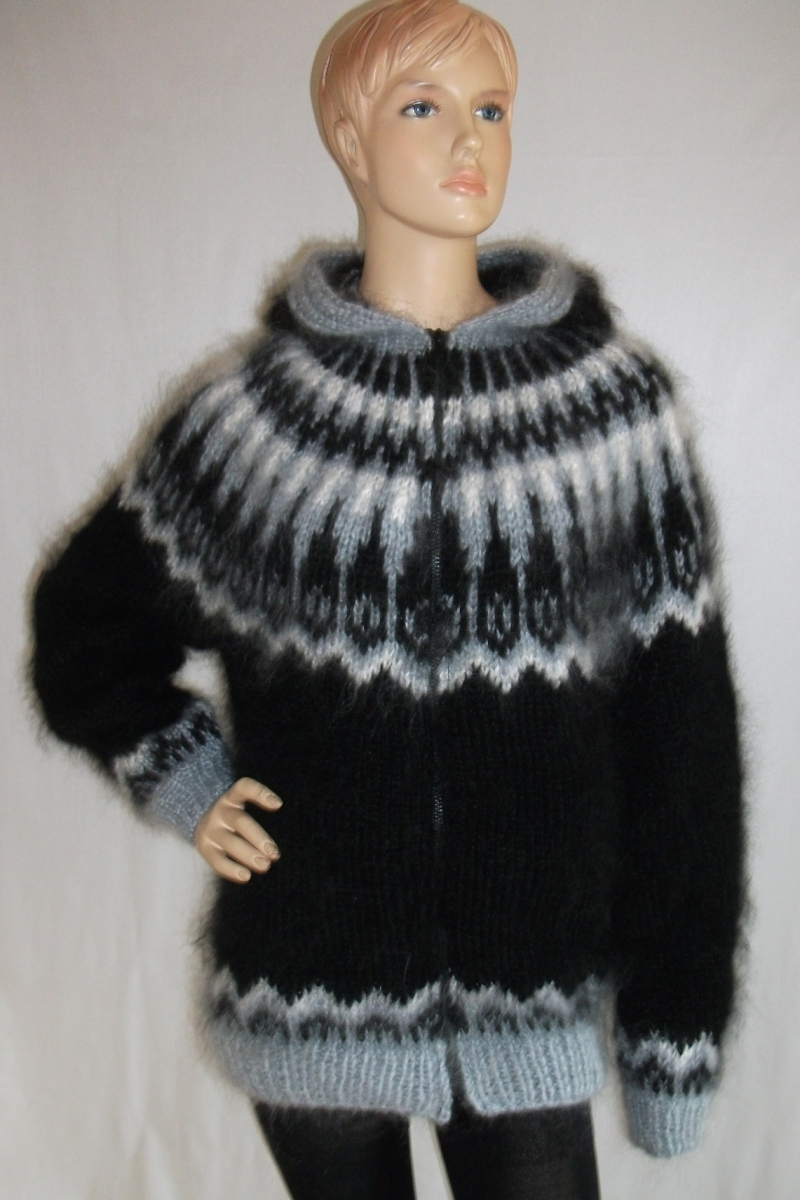 Icelandic Mohair Sweater Cardigan With Hood And Zipper