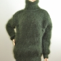 Thick mohair and wool  sweater dark green - L