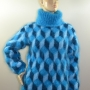 Hand knitted mohair turquoise sweater with tumbling blocks M-L