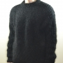 Thick swedish style sweater mohair and wool -black- XL