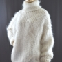 Thick mohair, cashmere turtleneck sweater white-XL