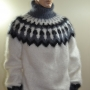 Mohair and Wool thick Icelandic sweater white -XL