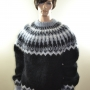 Thick Icelandic mohair sweater black -XL