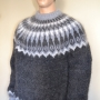 Thick Icelandic mohair sweater  dark grey -XL